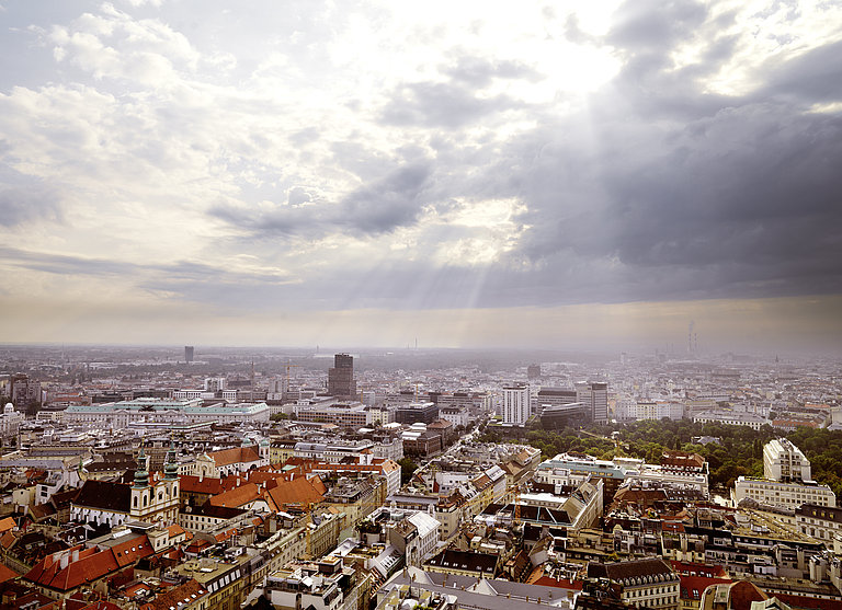 The picture shows a panoramic view of Vienna's rooftops as seen from the tower of St. Stephens cathedral